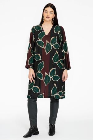 semi-transparante A-lijn jurk SYLVAN met bladprint zwart/donkerrood/donkergroen