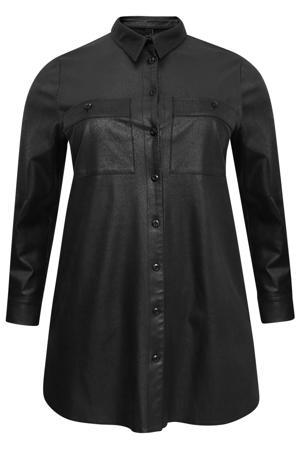 lange imitatiesuède blouse met craquelé finish zwart