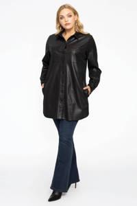 Yoek lange imitatiesuède blouse met craquelé finish zwart, Zwart