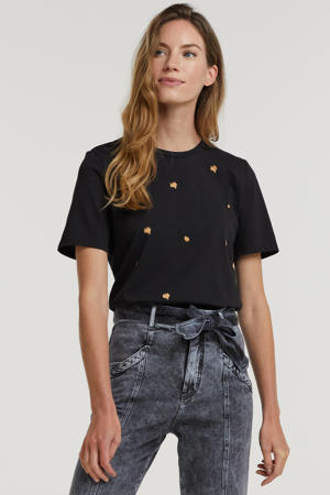 shirt met all over print zwart