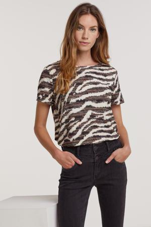 shirt met all over print beige/bruin/zwart