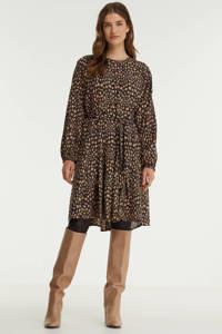 Anna A-lijn jurk met all over print en plooien zwart/bruin, Zwart/bruin
