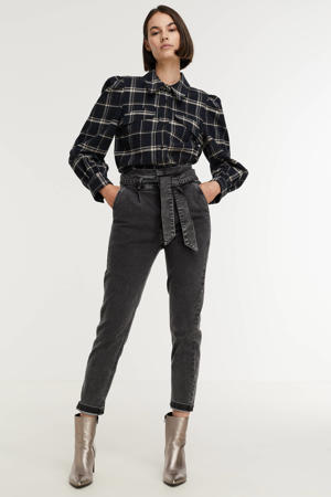 high waist tapered fit jeans grijs