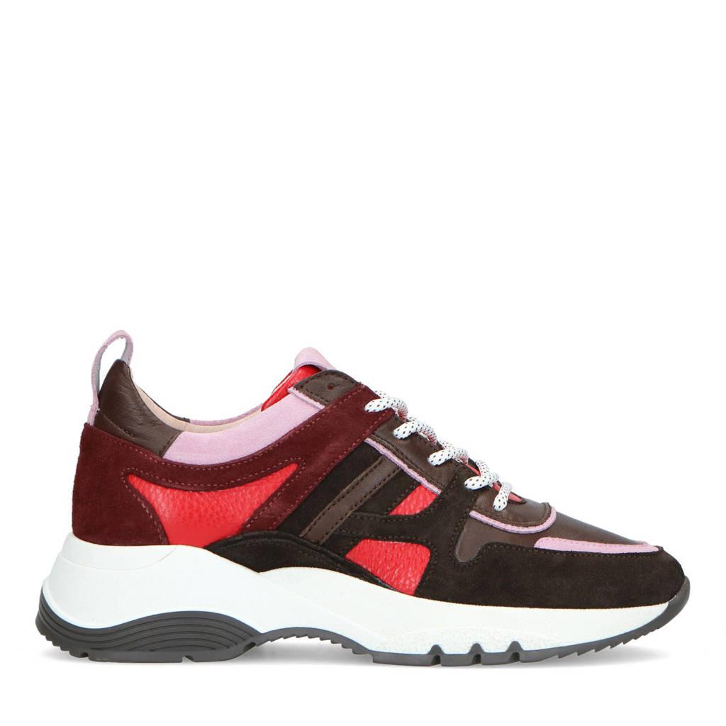 Manfield   leren dad sneakers bruin/roze, Bruin/roze