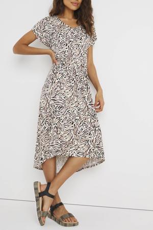 jurk met all over print en plooien lichtgeel/lichtroze/bruin