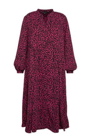 maxi jurk met dierenprint roze/zwart