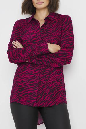 blouse met zebraprint roze/zwart