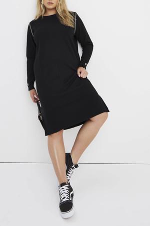 gemêleerde fijngebreide jurk zwart