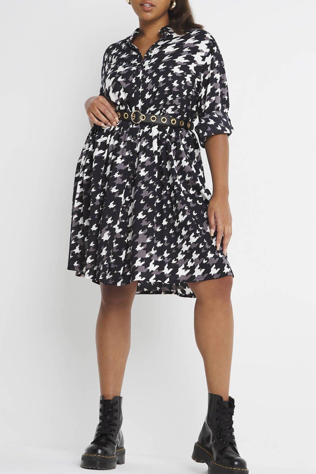 Simply Be blousejurk met pied-de-poule en plooien zwart/grijs/wit, Zwart/grijs/wit