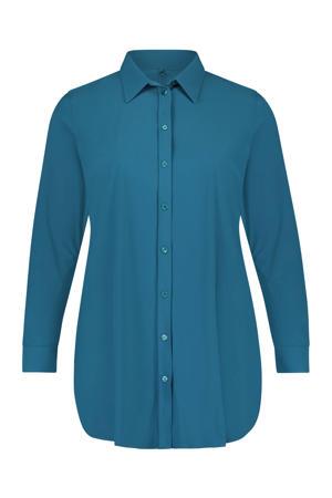 lange blouse van travelstof petrol