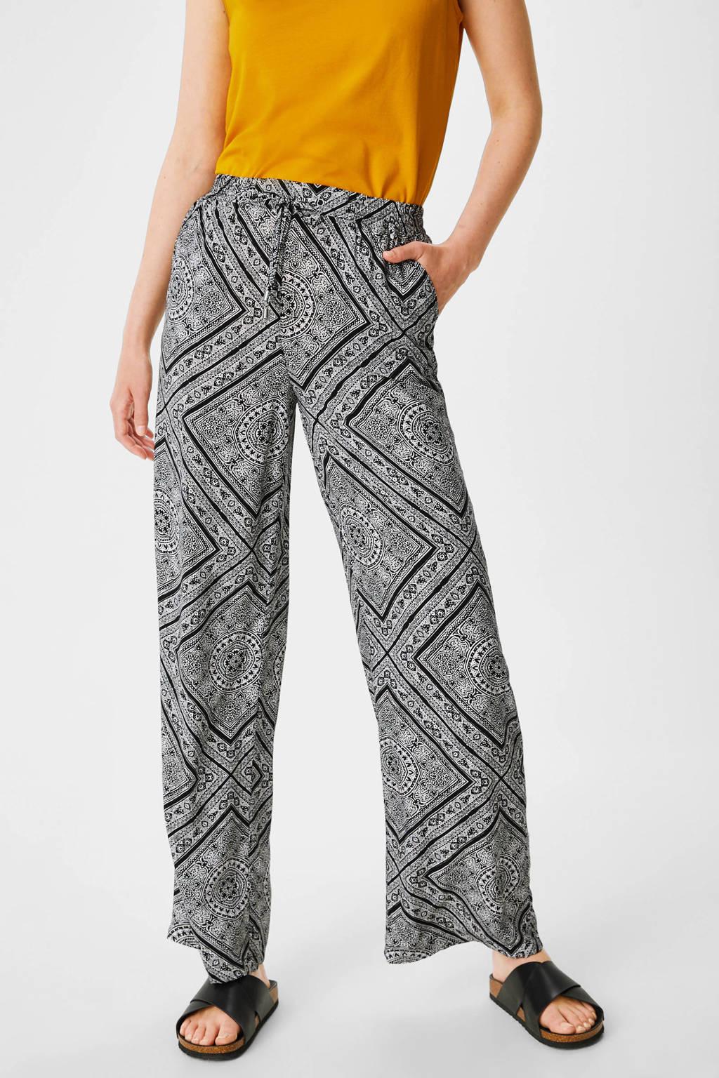 C&A Yessica wide leg palazzo broek met all over print zwart/wit, Zwart/wit