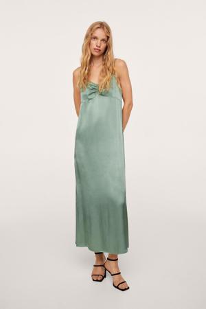 satijnen jurk met plooien groen