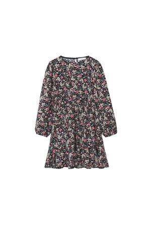 gebloemde jurk zwart/roze/groen/ecru
