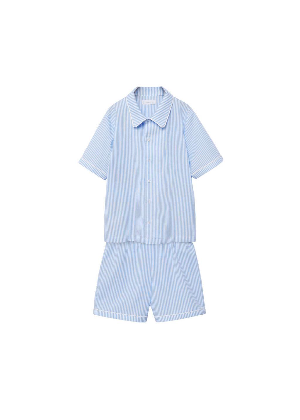 Mango Kids   gestreepte shortama lichtblauw/wit, Lichtblauw/wit
