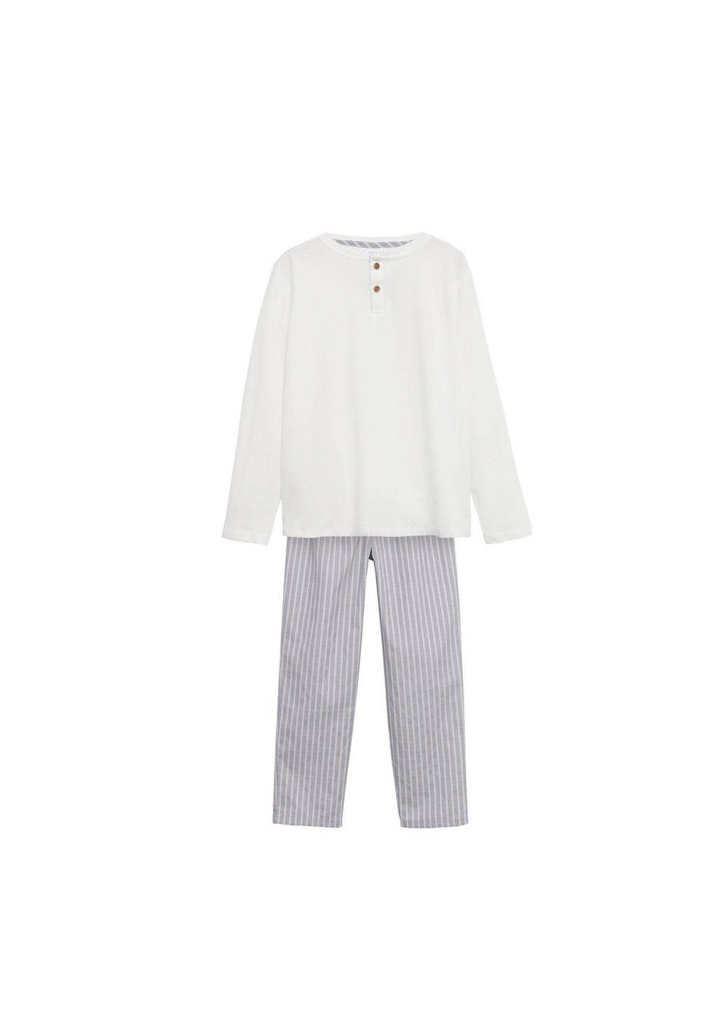 Mango Kids   pyjama naturel wit, Lichtgrijs/naturel wit
