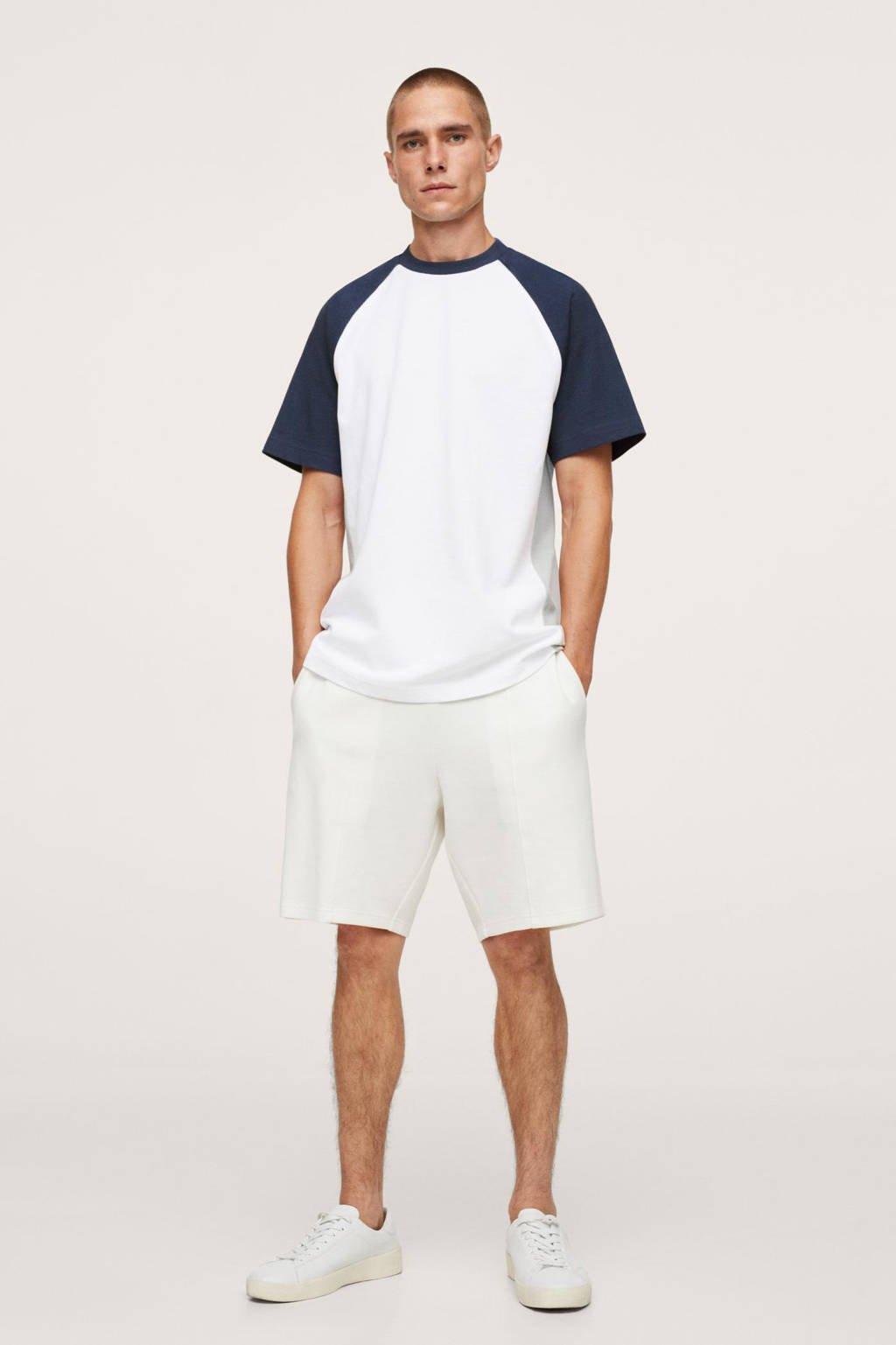 Mango Man T-shirt wit/donkerblauw, Wit/donkerblauw