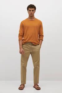 Mango Man straight fit broek beige, Beige