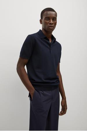 fijngebreide regular fit shirt marine