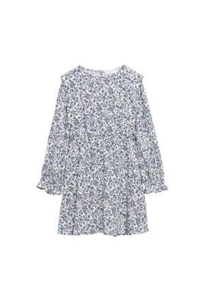 gebloemde jurk blauw/naturel wit