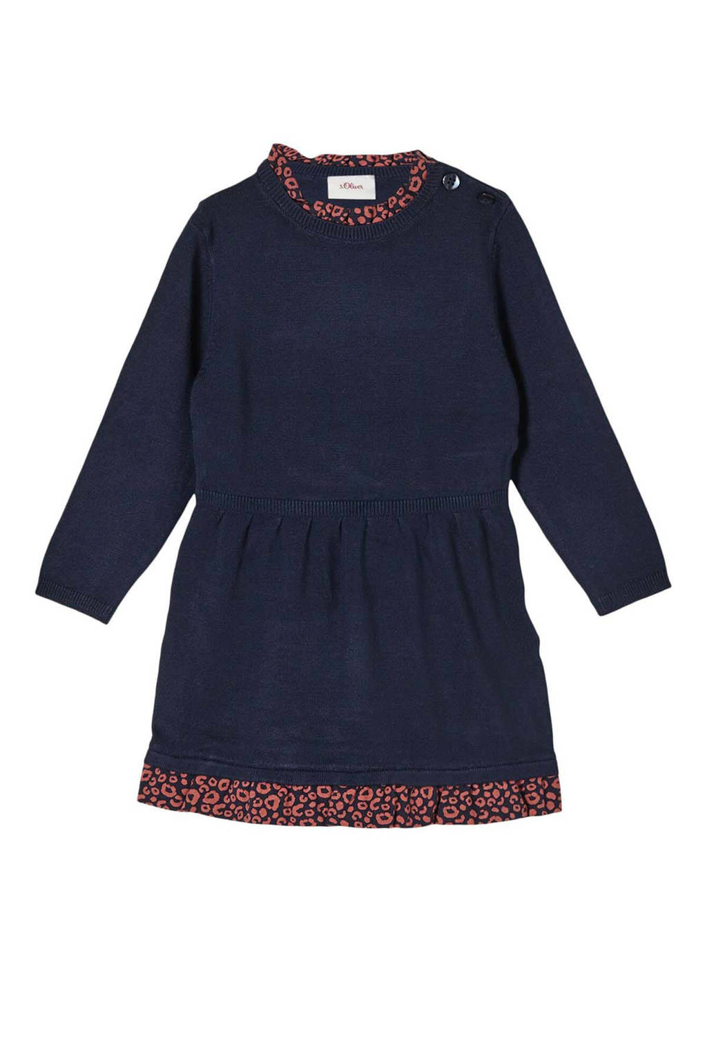 s.Oliver baby jurk met plooien donkerblauw, Donkerblauw