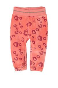 s.Oliver baby fluwelen broek met panterprint oranjeroze, Oranjeroze