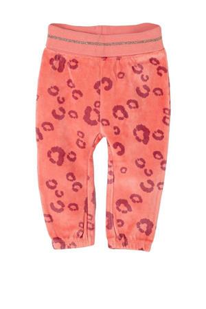 baby fluwelen broek met panterprint oranjeroze