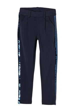 broek met pailletten donkerblauw