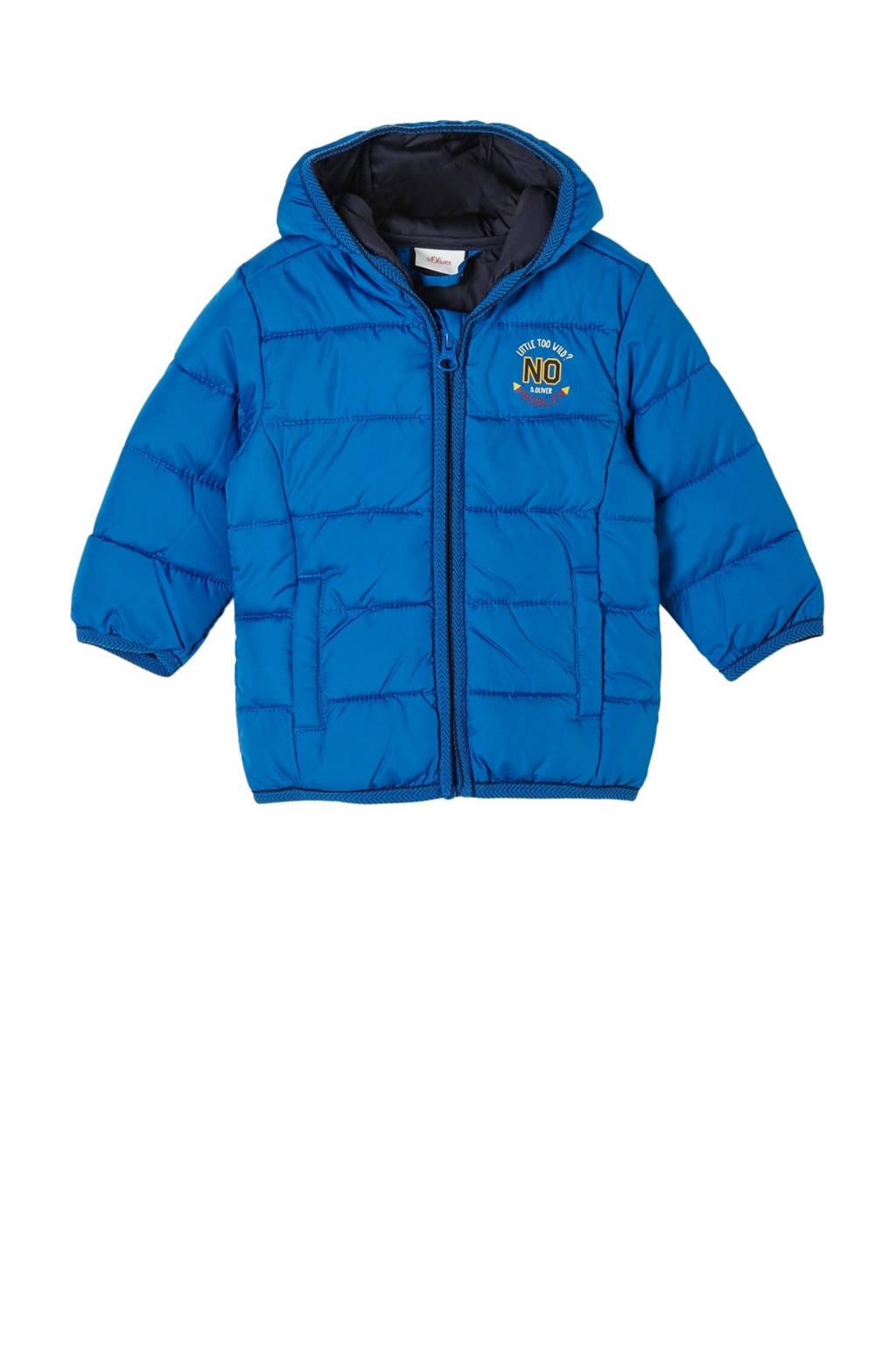 s.Oliver baby gewatteerde winterjas met printopdruk blauw, Blauw