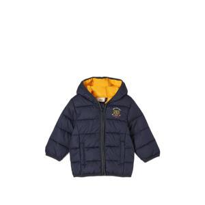 baby gewatteerde winterjas met printopdruk donkerblauw