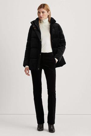 fluwelen gewatteerde jas zwart