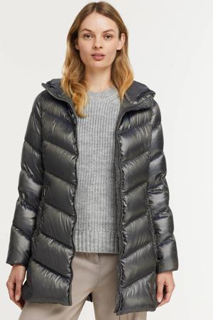 gewatteerde jas grijsblauw