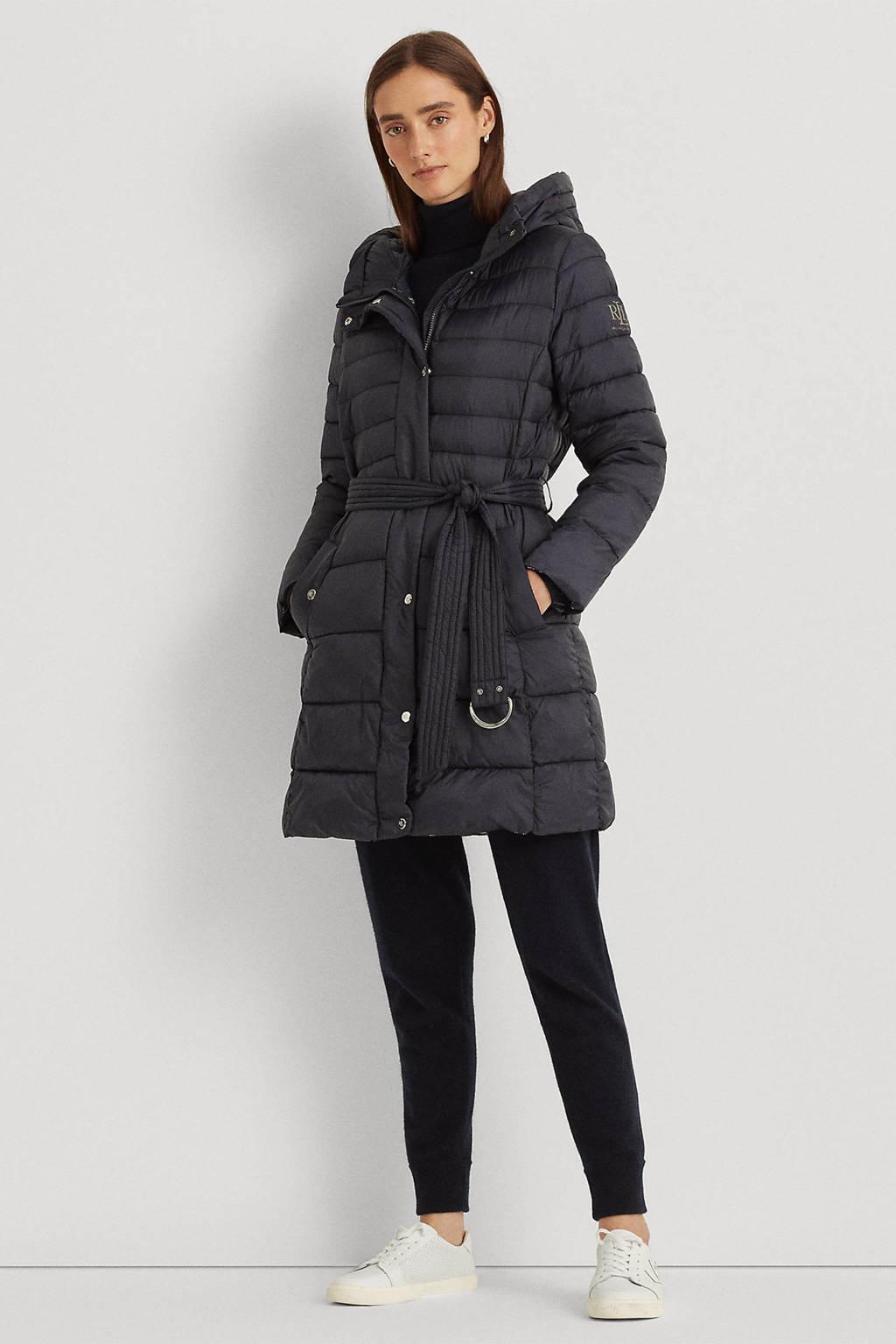 POLO Ralph Lauren gewatteerde jas met ceintuur donkerblauw, Donkerblauw