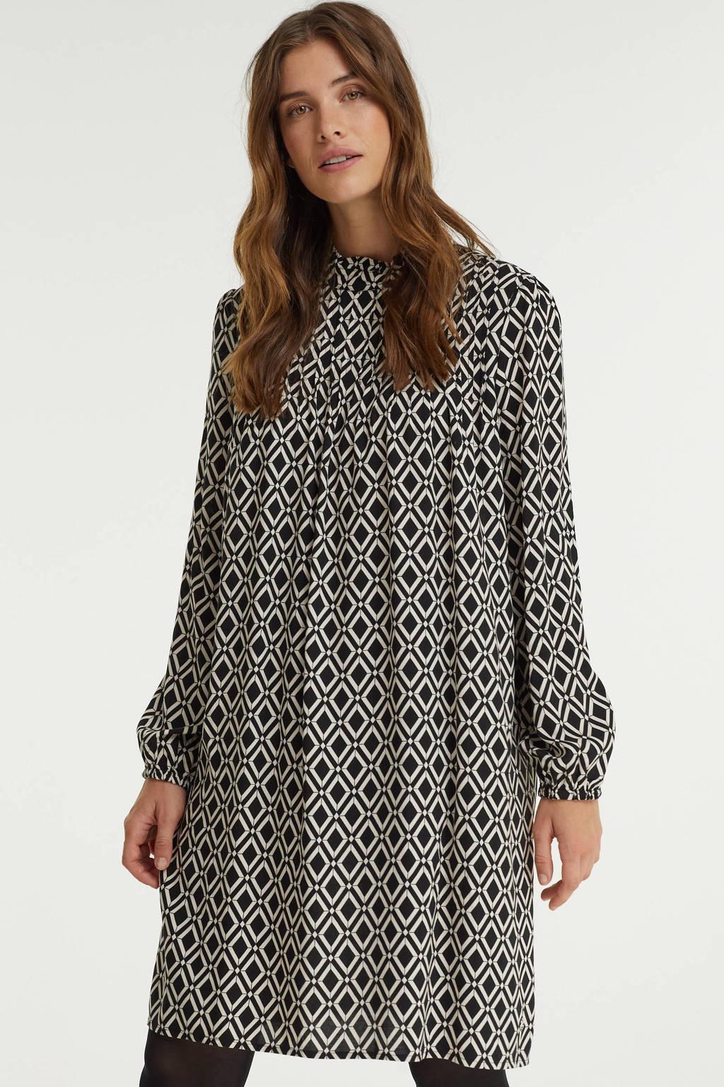 Smashed Lemon jurk met all over print en plooien zwart/ecru, Zwart/ecru