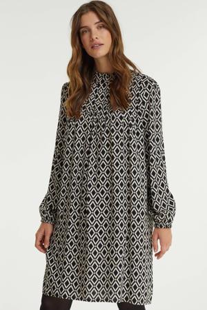 jurk met all over print en plooien zwart/ecru