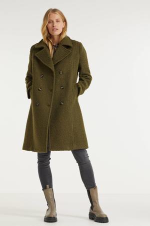 teddy coat Merel met wol olijfgroen