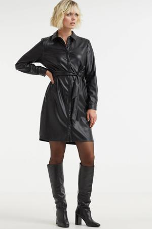 coated blousejurk Quinty jurk met ceintuur zwart