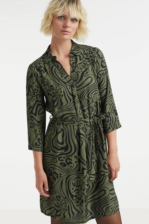 jurk met all over print groen/zwart