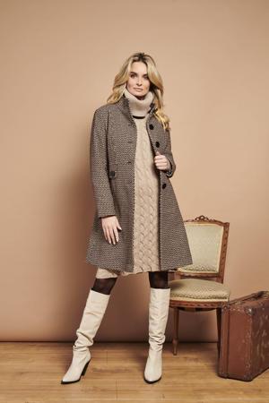 coat Georgina  met grafische print bruin