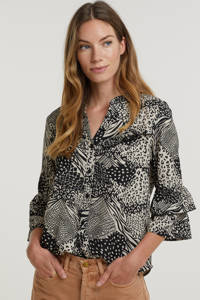 Smashed Lemon blouse Taylor  met all over print en ruches zwart/ecru, Zwart/ecru