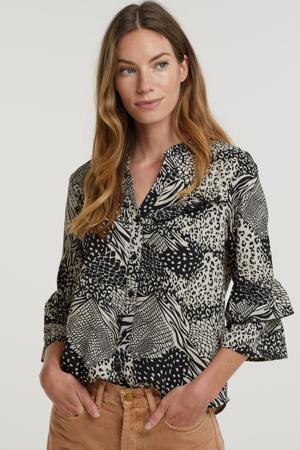 blouse Taylor  met all over print en ruches zwart/ecru