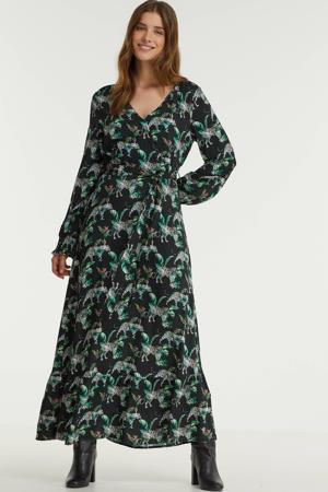 maxi jurk met all over print en volant zwart/groen/wit