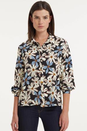 gebloemde blouse zwart/wit/lichtblauw