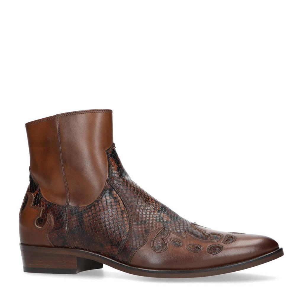 Sacha   leren cowboy boots cognac, Cognac
