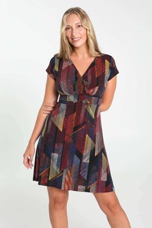 jurk met all over print en ceintuur donkerrood/geel/blauw/zwart/wit