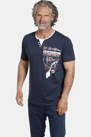 T-shirt PEDER Plus Size met printopdruk donkerblauw