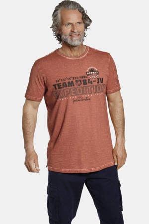 T-shirt HELGO Plus Size met tekst oranje