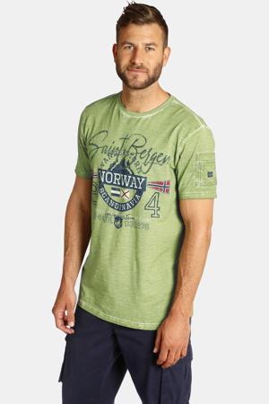 T-shirt HELGO Plus Size met tekst olijfgroen
