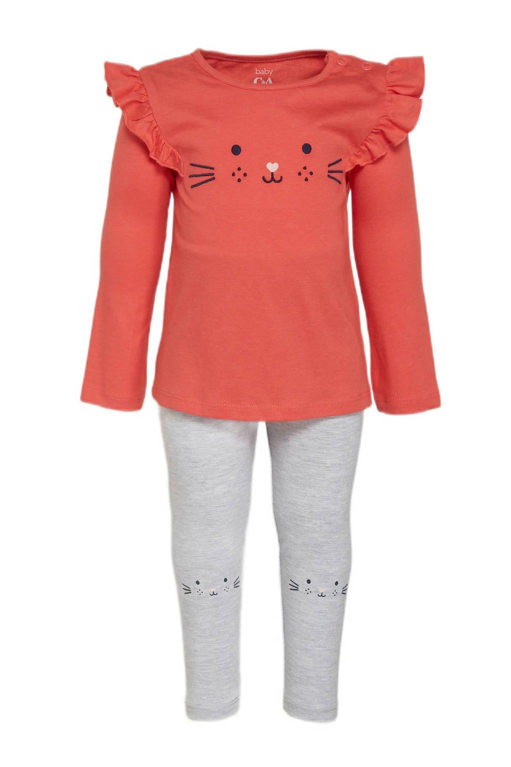 C&A Baby Club longsleeve + legging oranjerood/grijs, Oranjerood/grijs