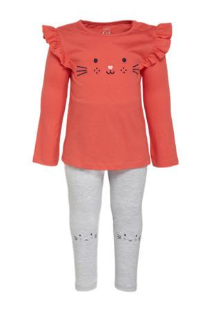 longsleeve + legging oranjerood/grijs
