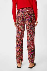 C&A straight fit broek met paisleyprint rood, Rood